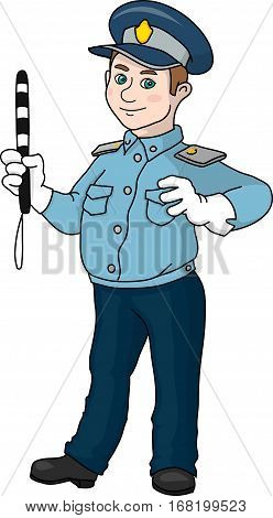 A pointsman in  white gloves and with the striped wand.