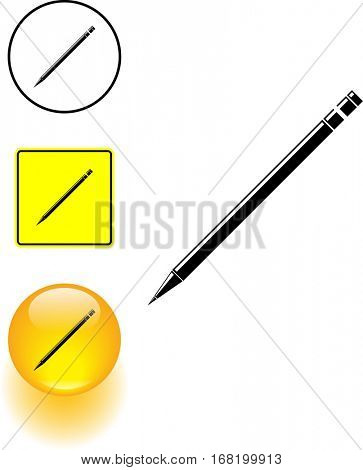 wooden pencil symbol sign and button