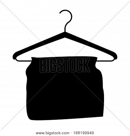 monochrome silhouette with hook closet shirt with clothes vector illustration