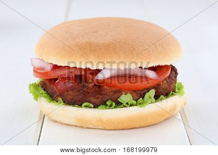 Hamburger Tomatoes Lettuce Wooden Board