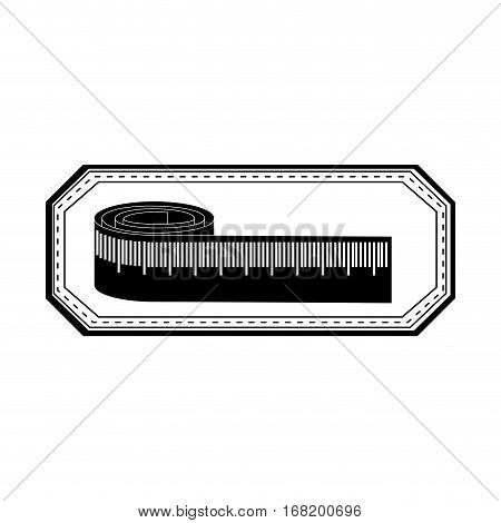 monochrome silhouette with measure tape in frame vector illustration