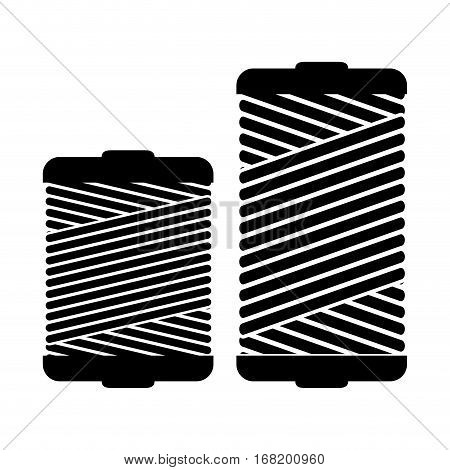 monochrome silhouette with thread spool pair vector illustration
