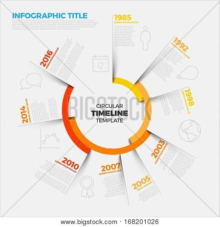 Vector Infographic circular timeline report template with the biggest milestones, icons, shadows and big colorful years labels