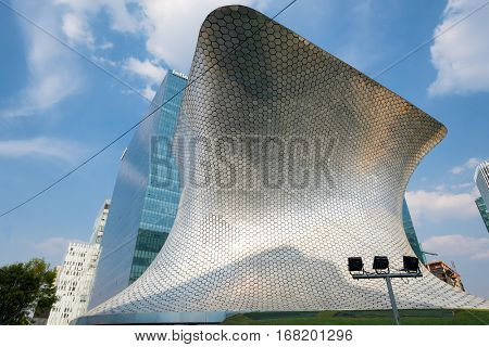 MEXICO CITY,MEXICO - DECEMBER 25,2016 : The modern Soumaya museum of art in Mexico City