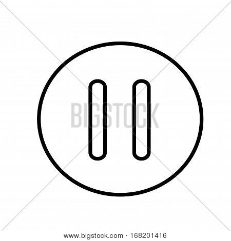 Pause button line icon. Isolated vector on white background.