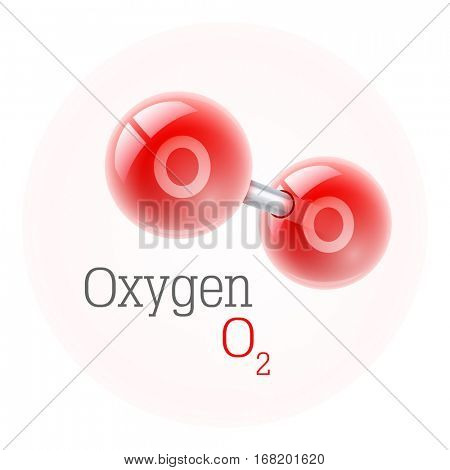 Chemical model of oxygen molecule. Assembly elements. Atoms. Scientific physics research formula. Vector illustration. Isolated on white background