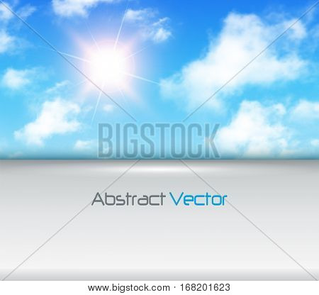 Sunny background with copy space, blue sky with white clouds and sun, vector illustration.