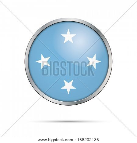 Vector Federated States of Micronesia flag glass button style with metal frame.