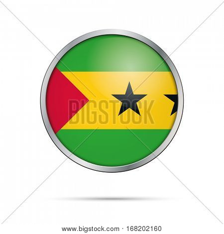 Vector Sao Tome and Principe flag glass button style with metal frame.