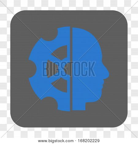 Intellect interface toolbar button. Vector icon style is a flat symbol inside a rounded square button blue and gray colors chess transparent background.