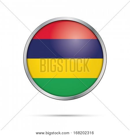 Vector Mauritian flag button. Mauritius flag glass button style with metal frame.