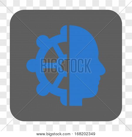Intellect interface toolbar button. Vector icon style is a flat symbol in a rounded square button blue and gray colors chess transparent background.