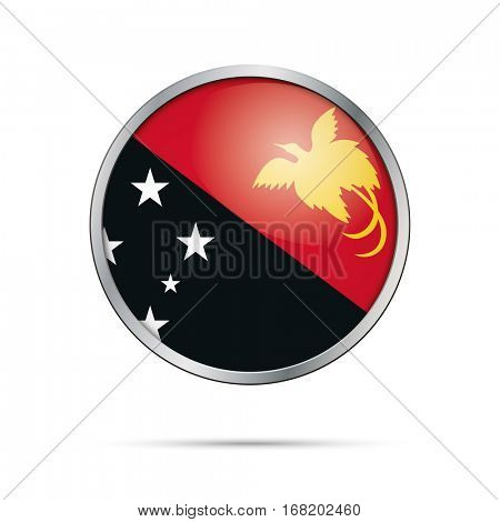 Vector Papuan flag button. Papua New Guinea flag glass button style with metal frame.