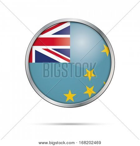 Vector Tuvaluan flag button. Tuvalu flag glass button style with metal frame.