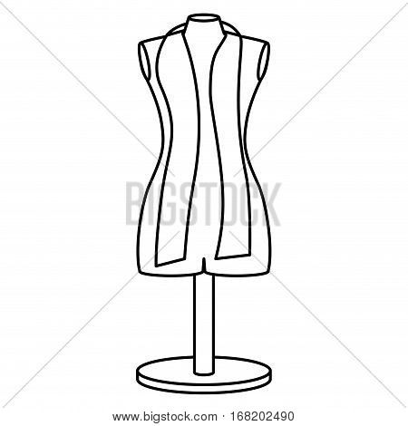 monochrome contour manikin tailor shop design vector illustration