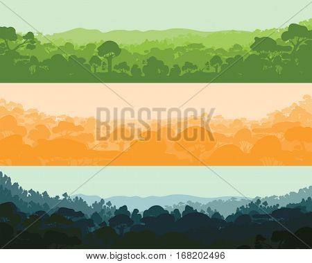 Horizontal wood afternoon, evening and night. Landscape, trees, tropics Silhouettes Vector illustration