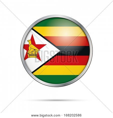 Vector Zimbabwean flag button. Zimbabwe flag glass button style with metal frame.