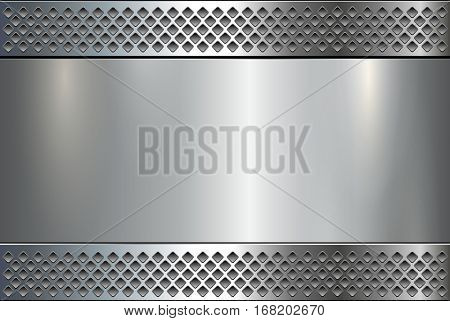 Metallic background, metal plate texture - vector polished metal
