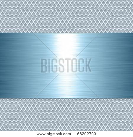 Metallic background, blue metal plate texture - vector polished metal