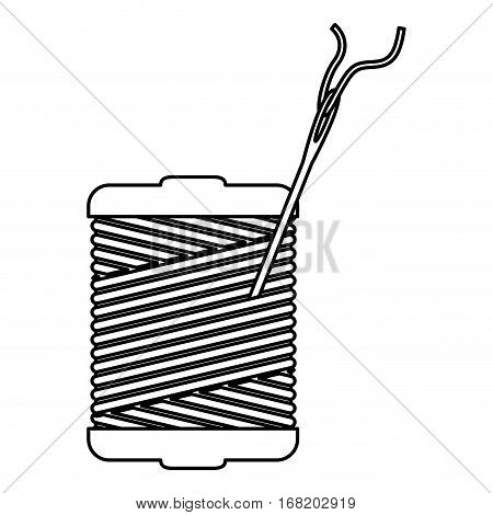 monochrome contour with thread spool and sewing needle vector illustration