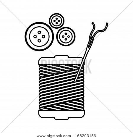 monochrome contour with thread spool and sewing needle and buttons vector illustration