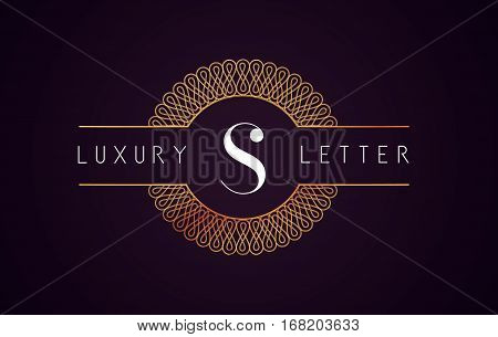 S Luxury Letter Logo. Golden Royal Luxury Letter Vector.