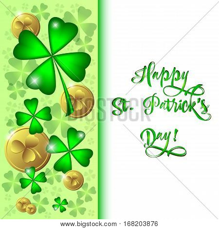 Holiday card with clovers and coins for St. Patrick's Day in March 17. Vector illustration