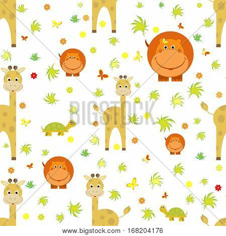 kids seamless pattern hippo, giraffe, turtle, butterfly transparent background vector illustration