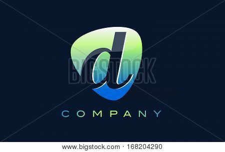 d Letter Logo. Oval Shape Modern Design with Glossy Look.