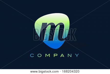 m Letter Logo. Oval Shape Modern Design with Glossy Look.