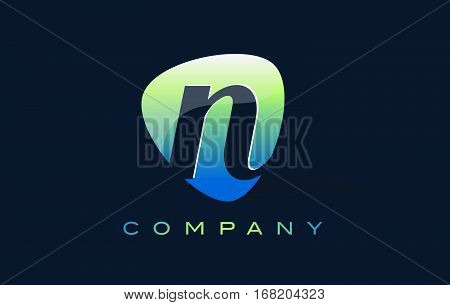 n Letter Logo. Oval Shape Modern Design with Glossy Look.
