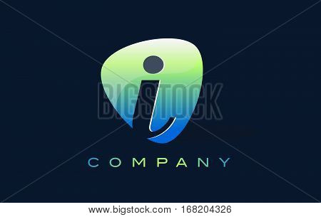 i Letter Logo. Oval Shape Modern Design with Glossy Look.