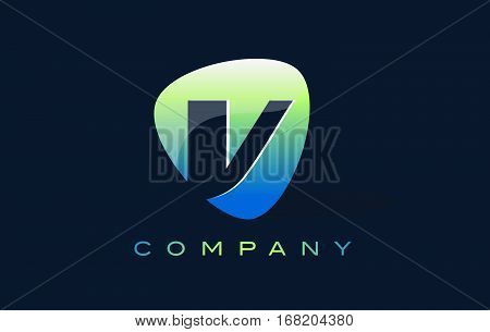 v Letter Logo. Oval Shape Modern Design with Glossy Look.