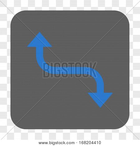 Opposite Bend Arrow interface toolbar button. Vector icon style is a flat symbol in a rounded square button blue and gray colors chess transparent background.