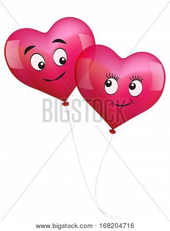 Heart balloons in love - isolated vector illustration on white background.