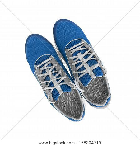 Unbranded modern sneakers isolated on a white background. Blue sneakers.