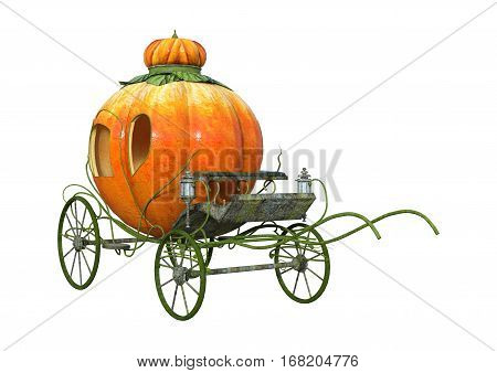 3D rendering of a Cinderella pumpkin carriage isolated on white background