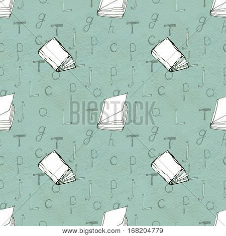 Seamless doodle pattern with books and letters. Library hand drawn sketchy background. Reading and education concept. Paper texture.