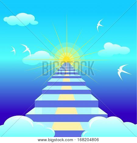 Vector staircase to heaven. Motivating illustration. Sea and nature