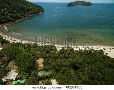 Aerial View of Barra do Sahy, Sao Sebastiao, Sao Paulo, Brazil
