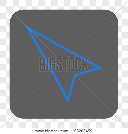 Pointer Left Up interface toolbar button. Vector icon style is a flat symbol inside a rounded square button blue and gray colors chess transparent background.