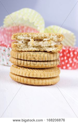 cookies with cream cream-filled biscuit, copy space