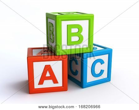 abc alphabet cubes over the white background (3d rendering)