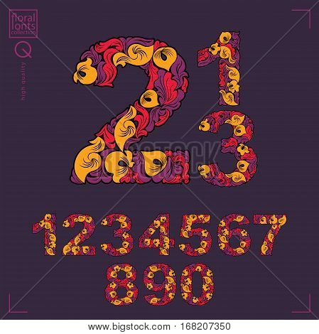 Set of beautiful numbers decorated with herbal ornament. Vector numeration made in floral autumn style.