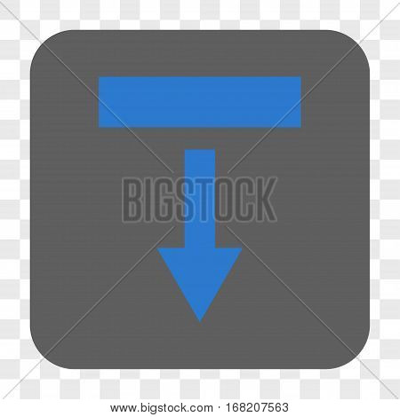 Pull Down interface toolbar button. Vector icon style is a flat symbol in a rounded square button blue and gray colors chess transparent background.