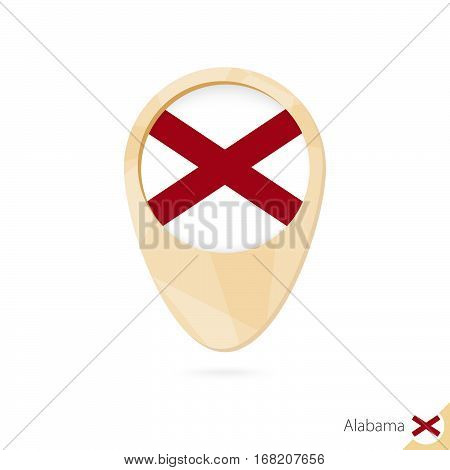 Map Pointer With Flag Of Alabama. Orange Abstract Map Icon.