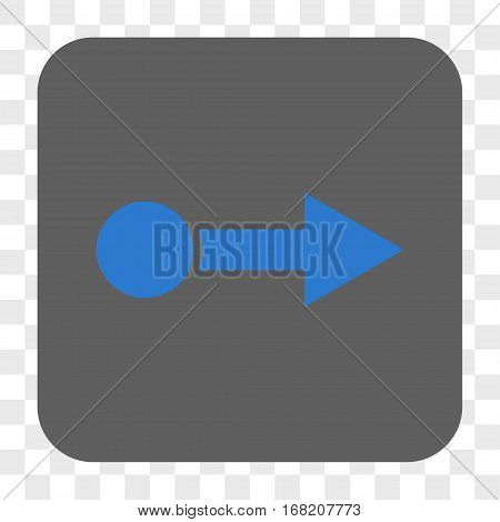 Pull Right interface toolbar button. Vector icon style is a flat symbol in a rounded square button blue and gray colors chess transparent background.