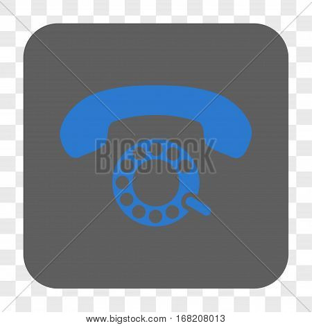 Pulse Dialing interface toolbar button. Vector icon style is a flat symbol inside a rounded square button blue and gray colors chess transparent background.