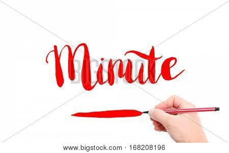 The word of Minute written by hand on a white background