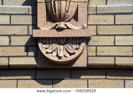 Decorative Stonework enhances the exterior of the old train depot in Livingston Montana.